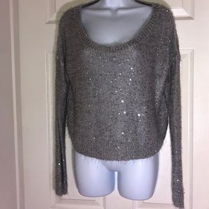 Forever 21 Women's Sparkly Sweater Blouse GRAY (M)